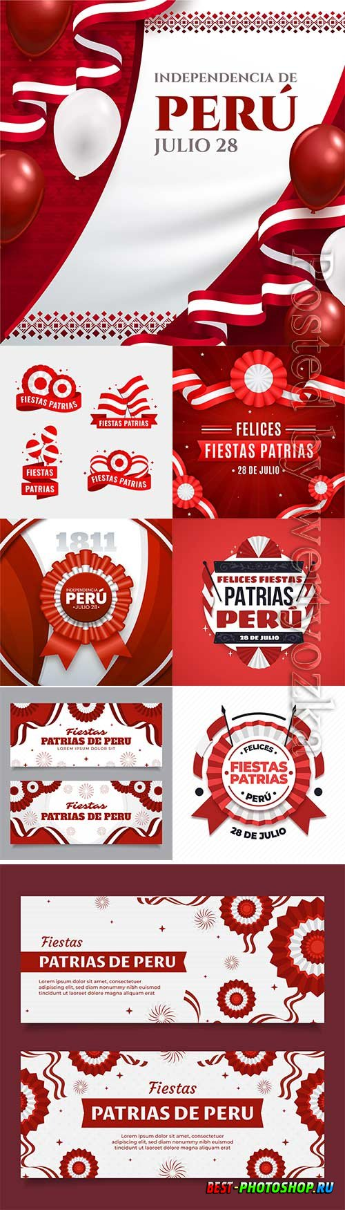 Realistic fiestas patrias de peru vector illustration