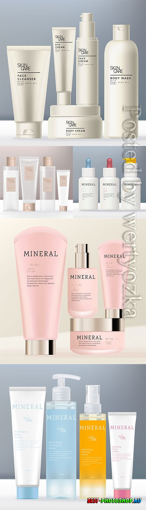 Realistic cosmetic products advertising vector illustration