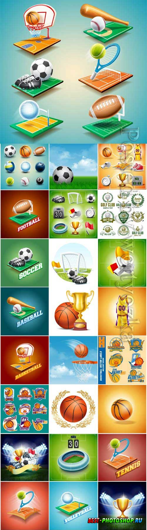 Sports items, balls and awards in vector