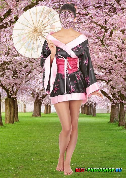 Шаблон для женской фотографии - Сакура цветет