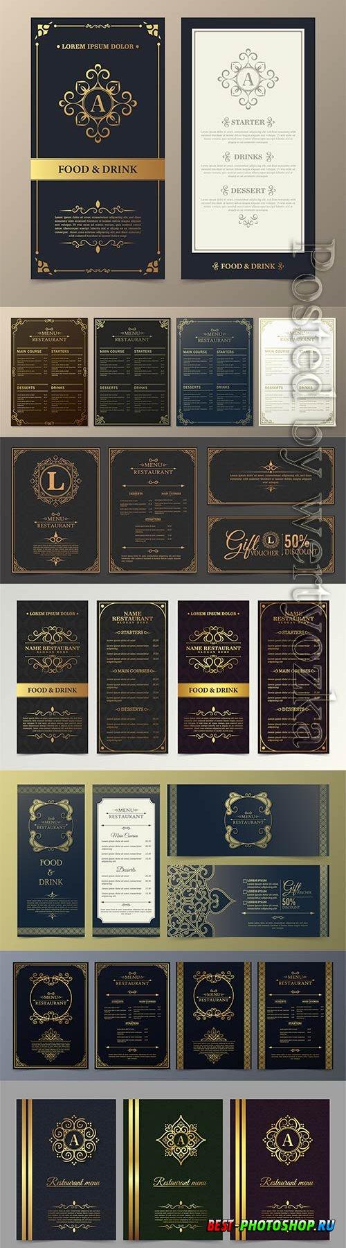 Luxury vector restaurant menu with logo ornament