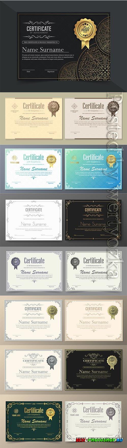 Luxury achievement vector certificate best award diploma