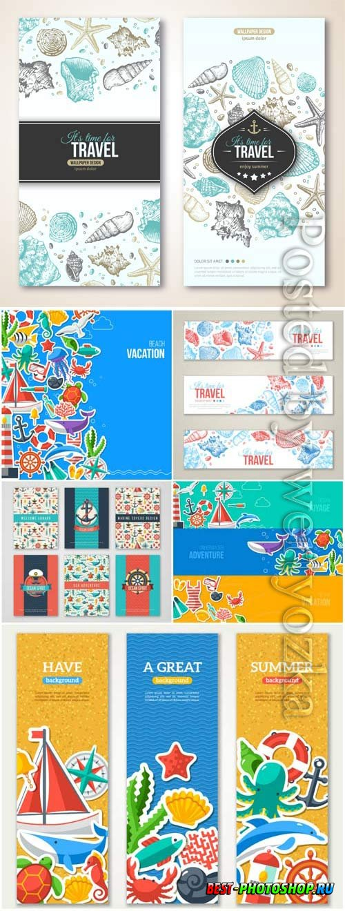 Marine banners and backgrounds in vector
