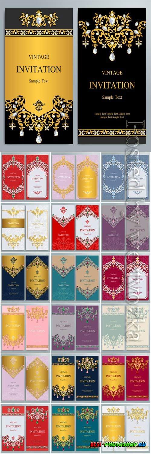 Luxury wedding invitations in vector