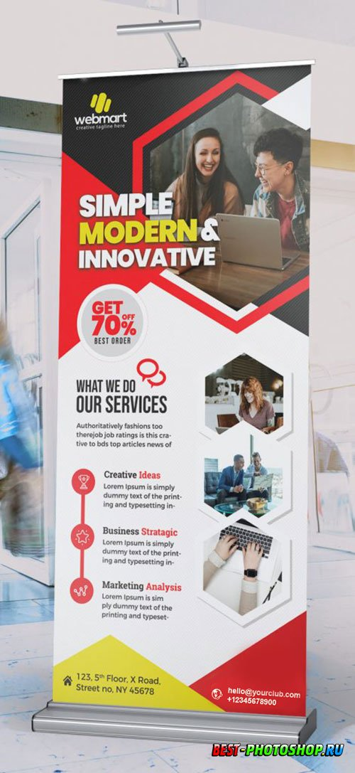 Modern Business Roll Up Banner Layout PSD