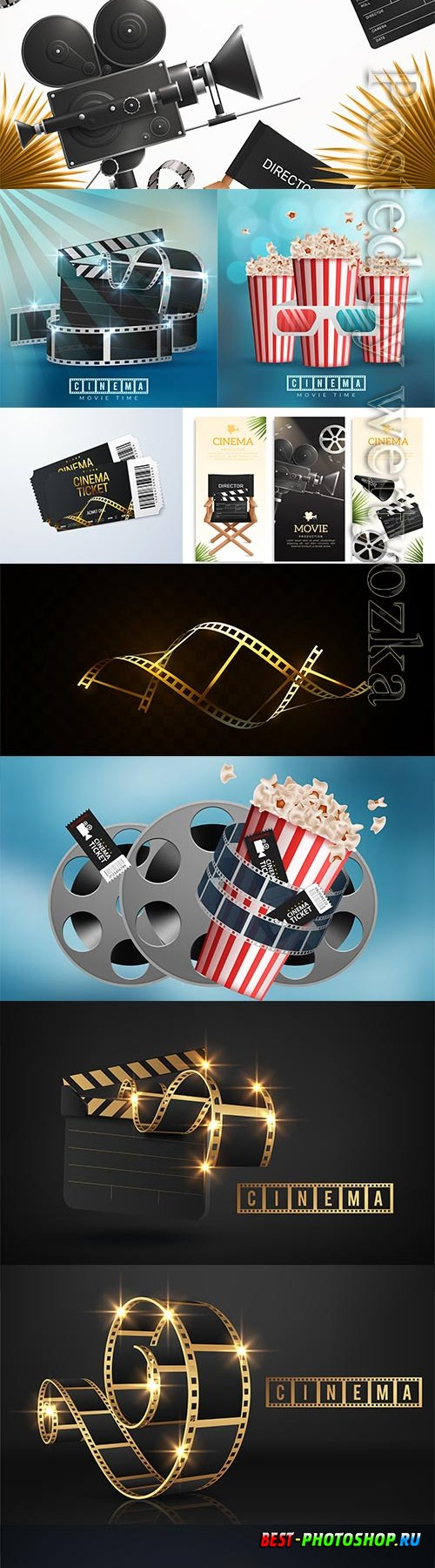 Realistic cinema movie background with film reel, clapper, popcorn, 3d glasses