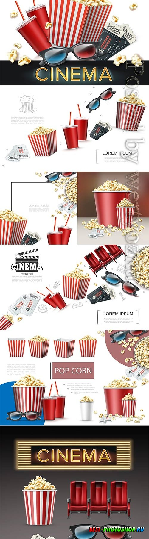 Realistic cinema elements, 3d glasses, tickets, soda, cups striped, paper box and bucket of popcorn