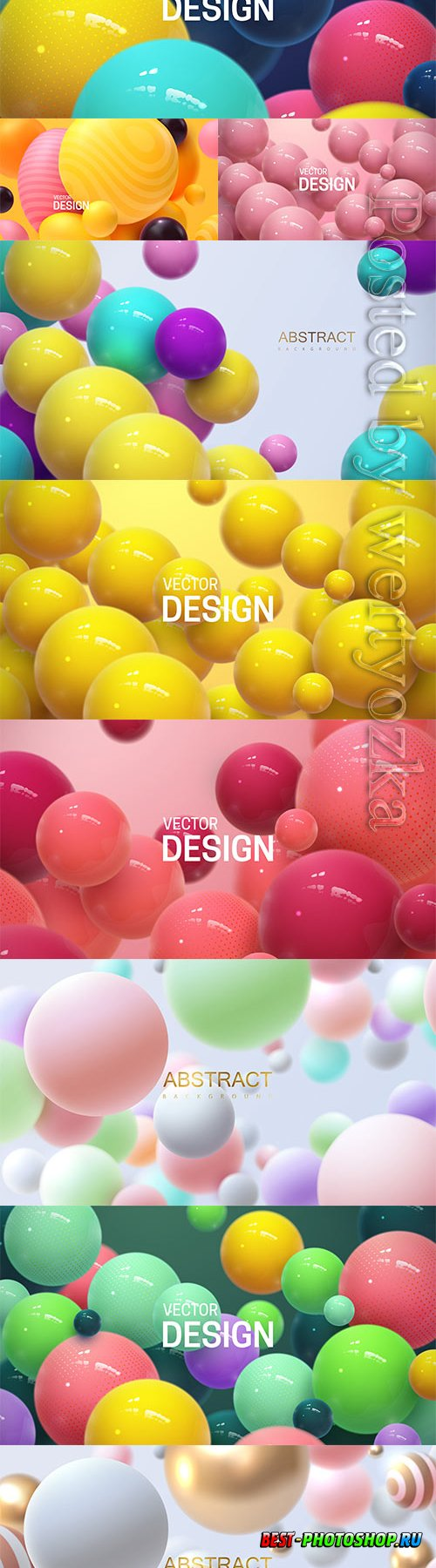 Abstract vector background with 3d spheres