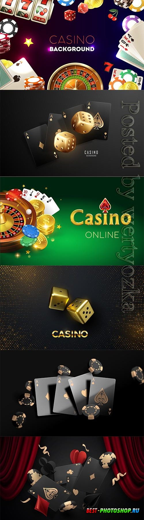 Casino with of text and realistic gambing elements illustration