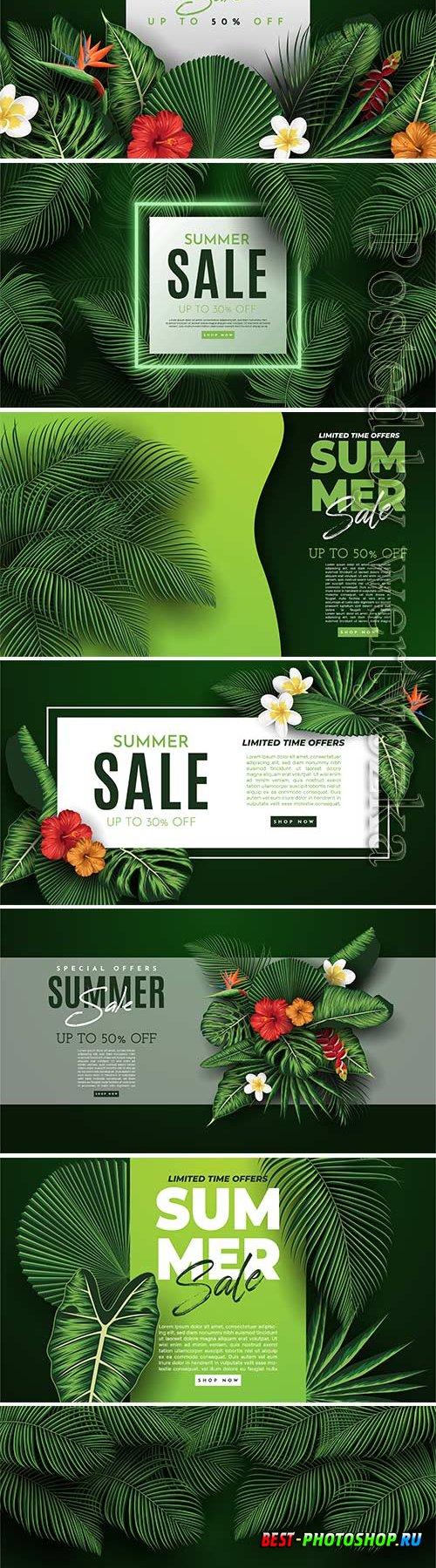 Summer sale vector banner in vector