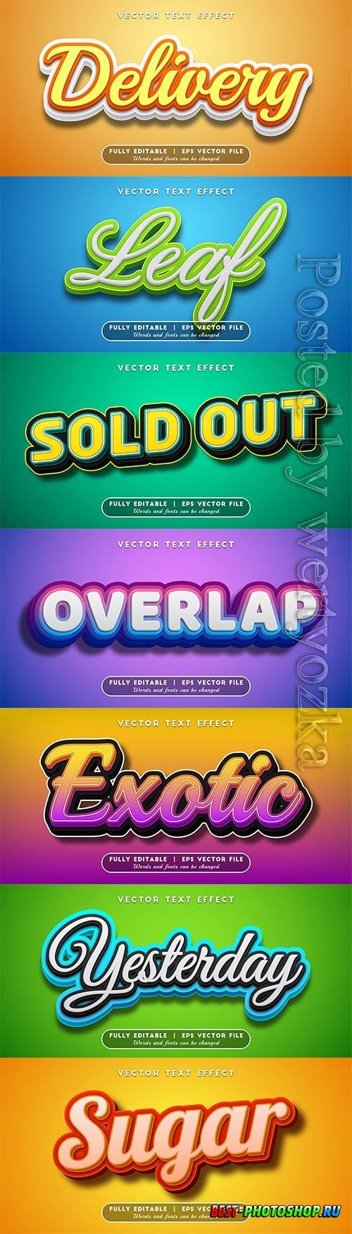 3d editable text style effect vector vol 517
