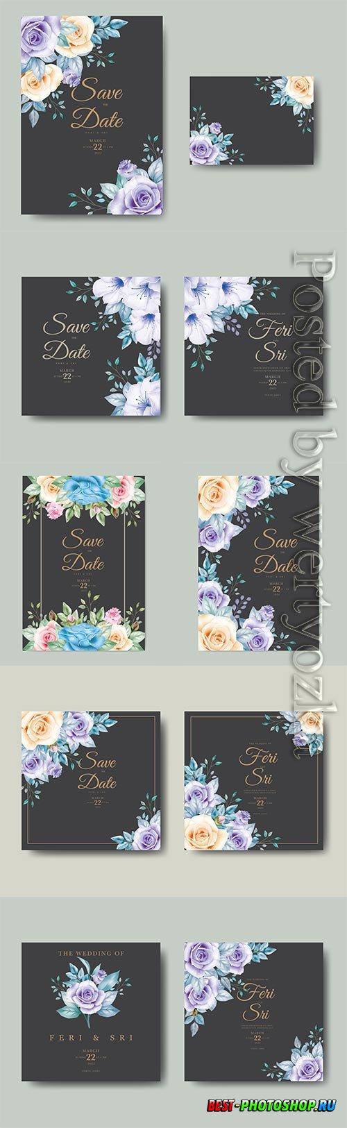 Wedding invitation card with floral watercolor vector design