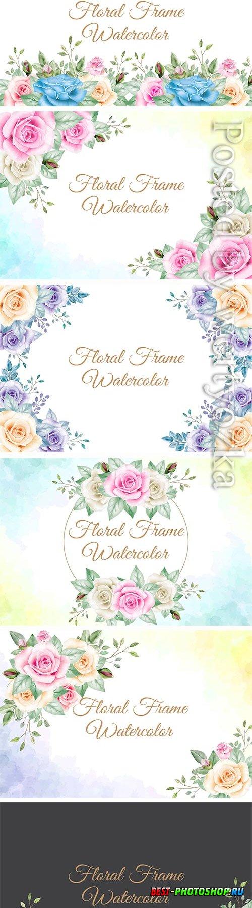 Floral frame watercolor vector design