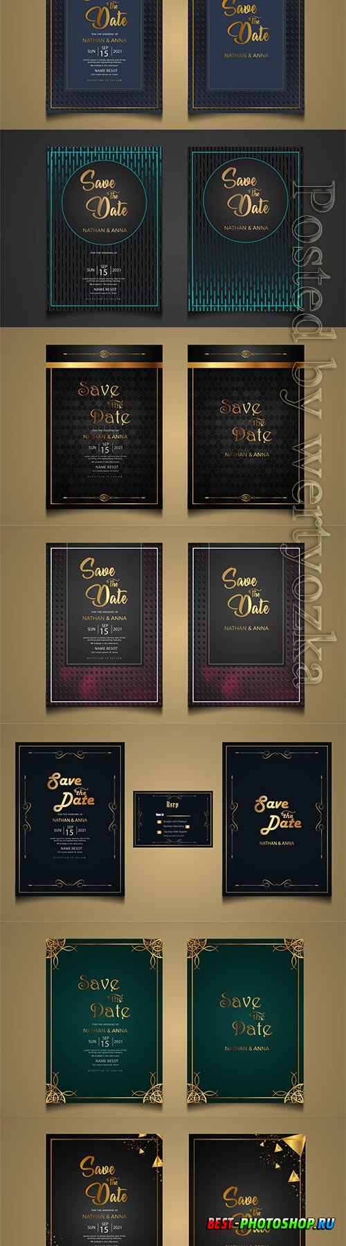 Set collection luxury modern wedding invitation vector card template