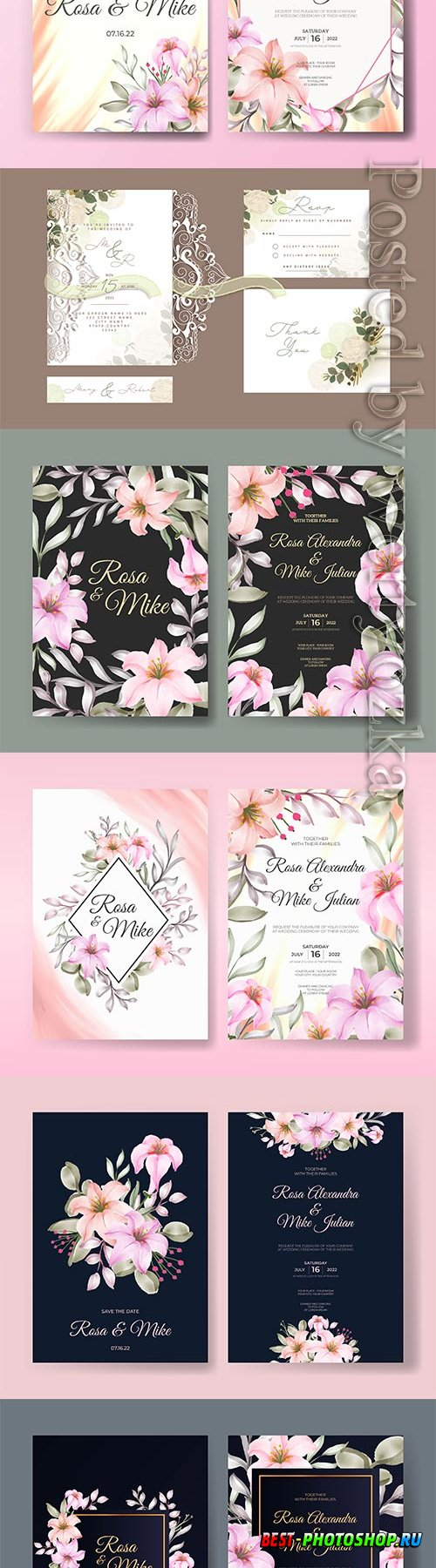 Wedding card set with beautiful design