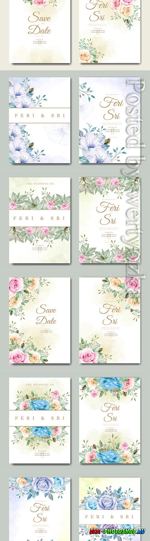 Beautiful wedding invitation vector card with floral watercolor