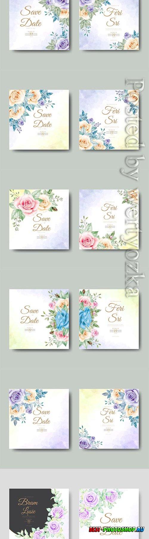 Beautiful vector wedding invitation card with floral watercolor