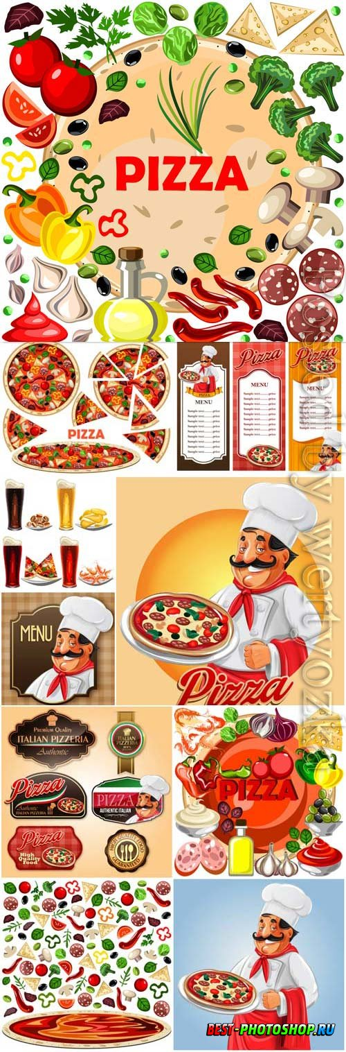 Promotional pizza labels and posters in vector
