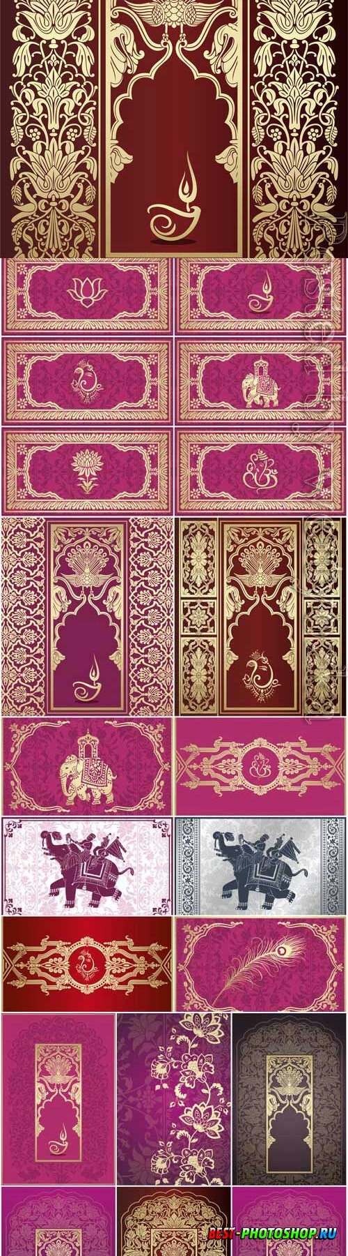Gold Indian patterns in vector