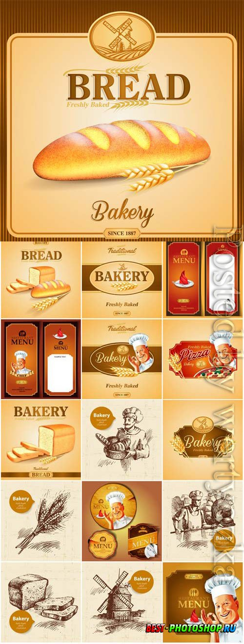Bread advertising banners and labels in vector
