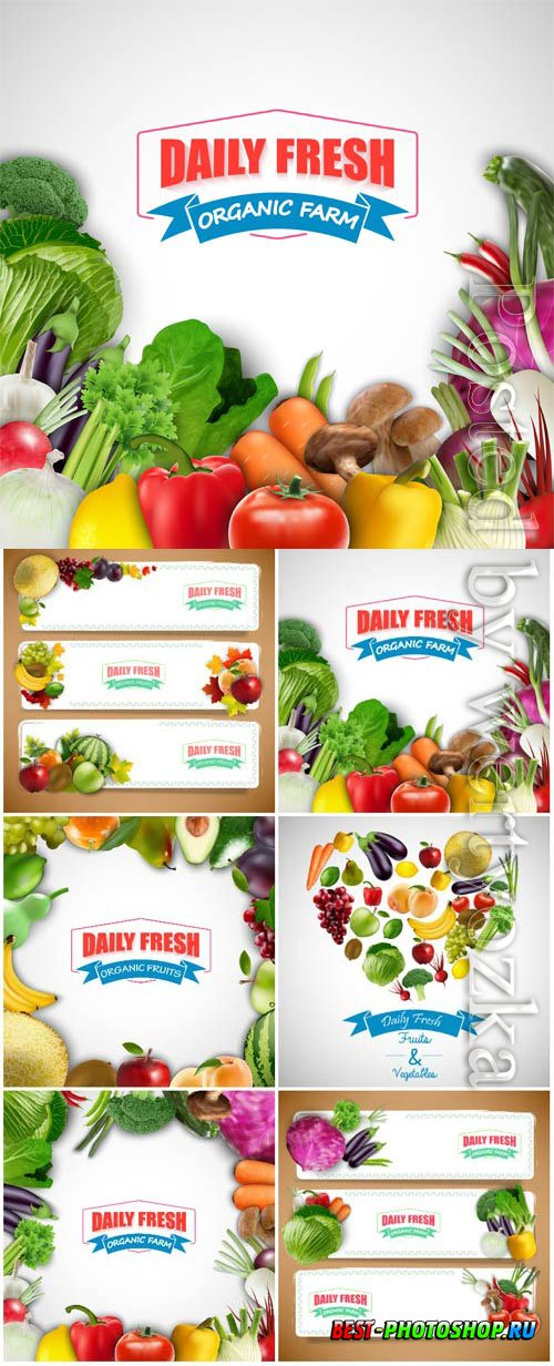 Backgrounds and banners with fresh vegetables and fruits in vector