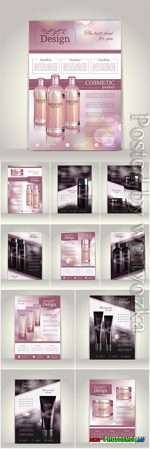 Cosmetics advertising posters in vector