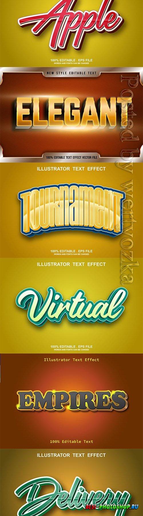 3d editable text style effect vector vol 643