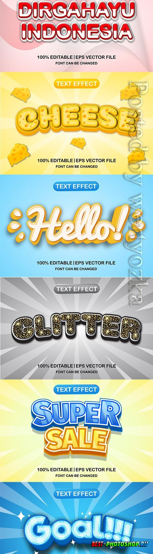 3d editable text style effect vector vol 638