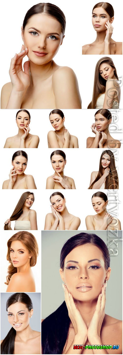 Girls with well groomed skin stock photo