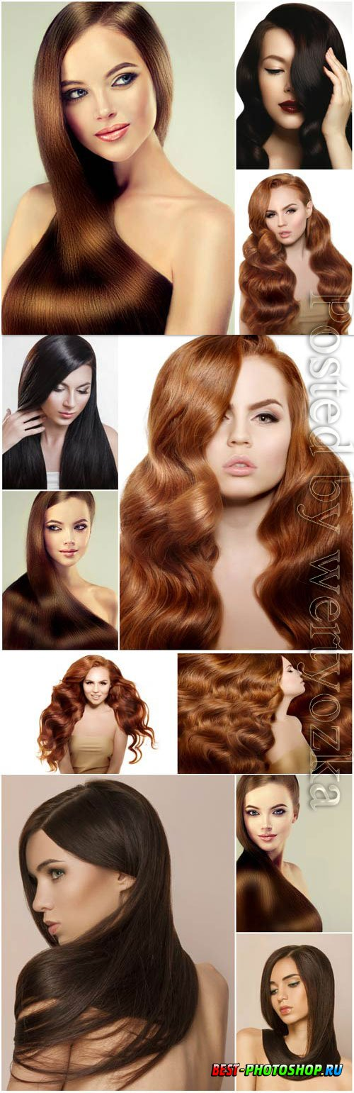 Girls with luxurious long hair stock photo