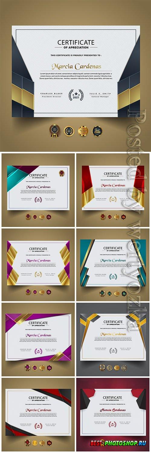 Premium vector certificate, diploma template