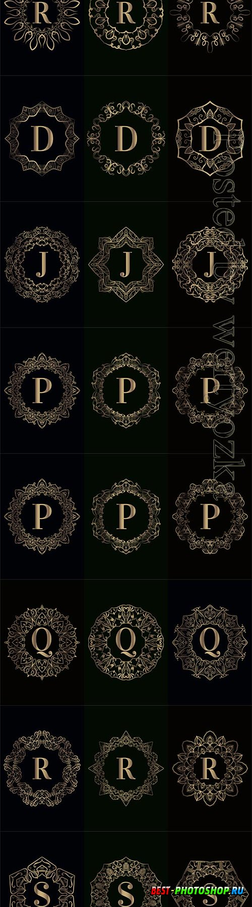 Collection of vector logo initial with luxury mandala ornament frame
