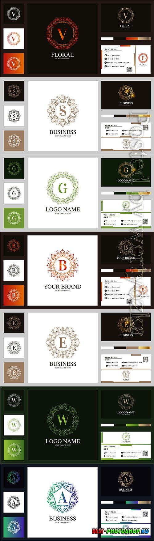 Letter vector luxury ornament flower frame logo template design with business card