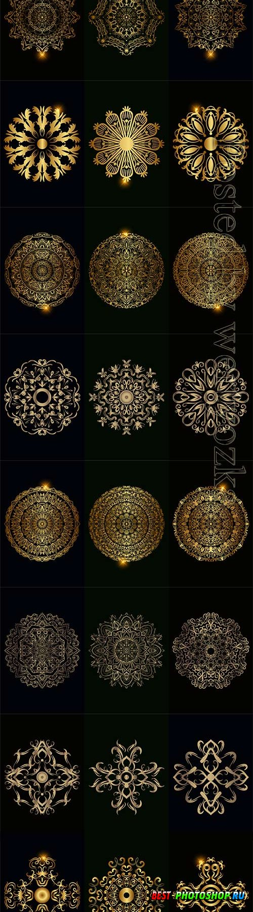 Collection of mandala ornament or flower vector