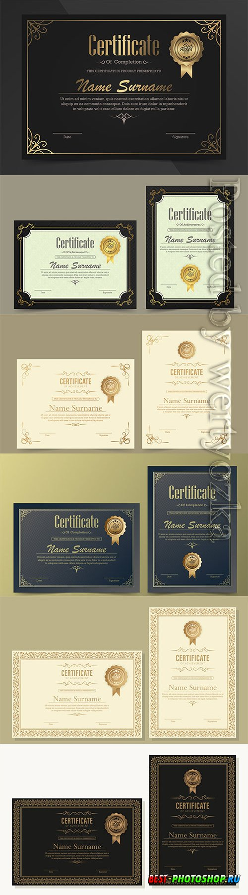 Achievement vector certificate template in vintage style
