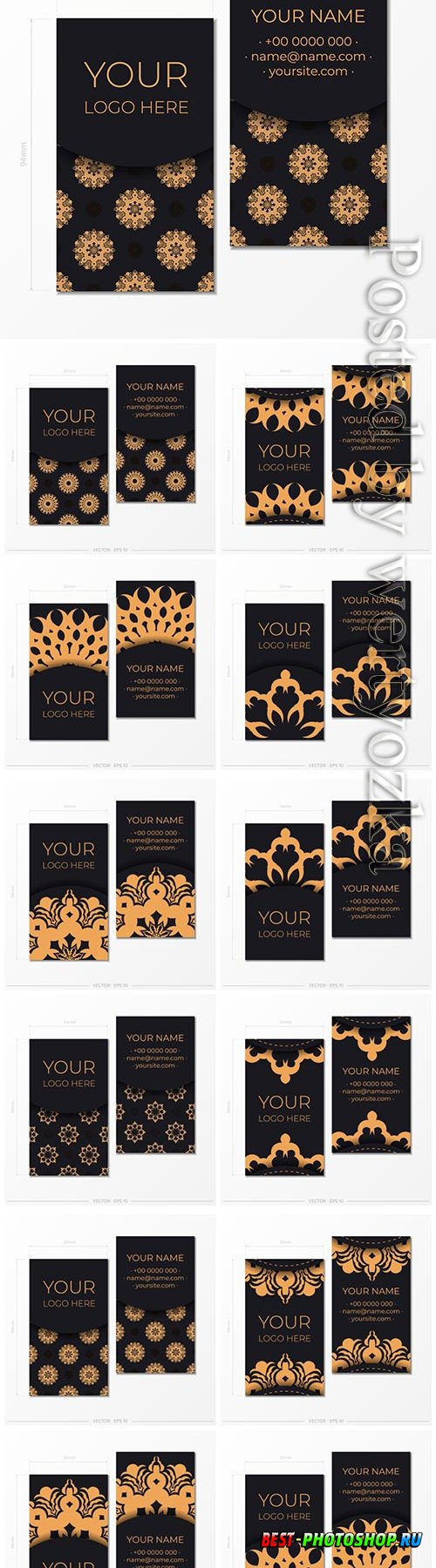Business cards vector template with decorative oriental floral illustration