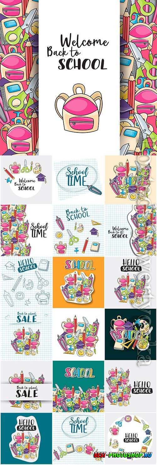 Welcome back to school as stickers in vector