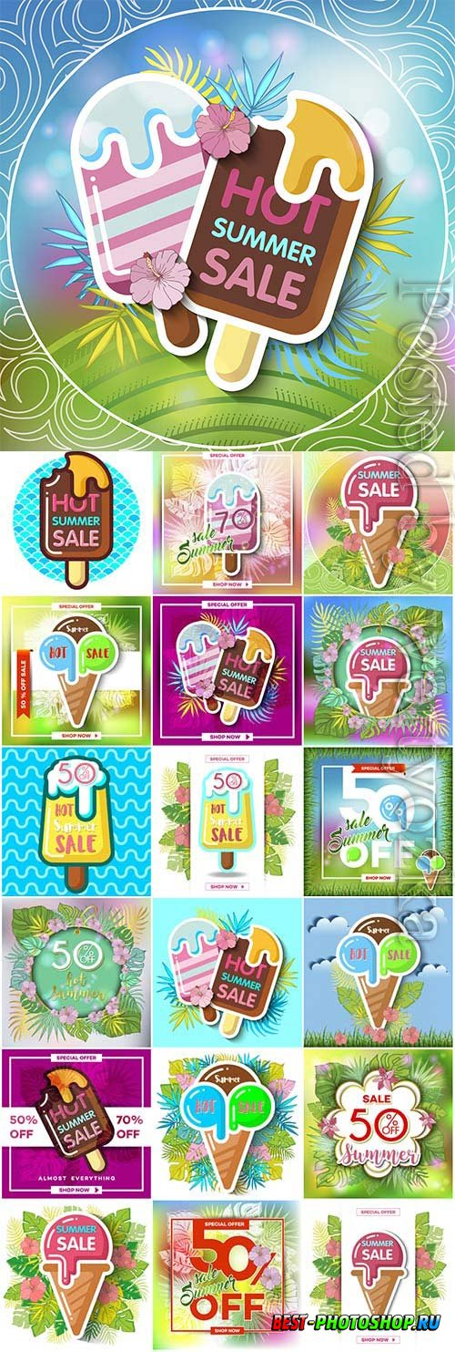 Vector Ice Cream promotional posters