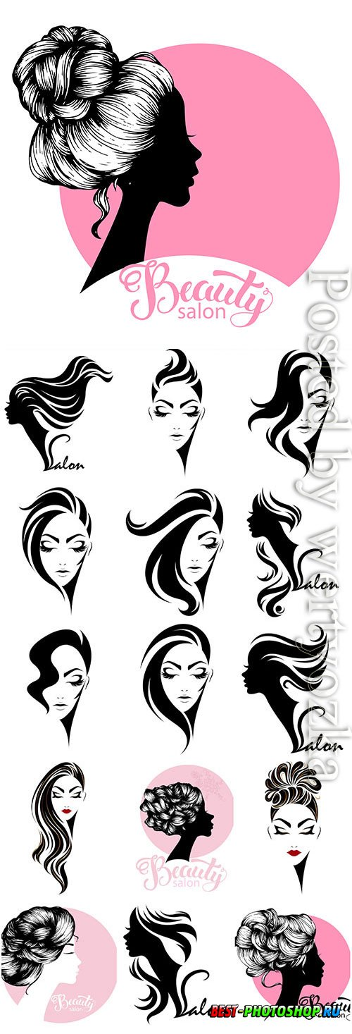 Silhouettes of girls for logos of beauty salon in vector