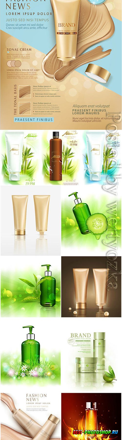 Natural cosmetics in vector