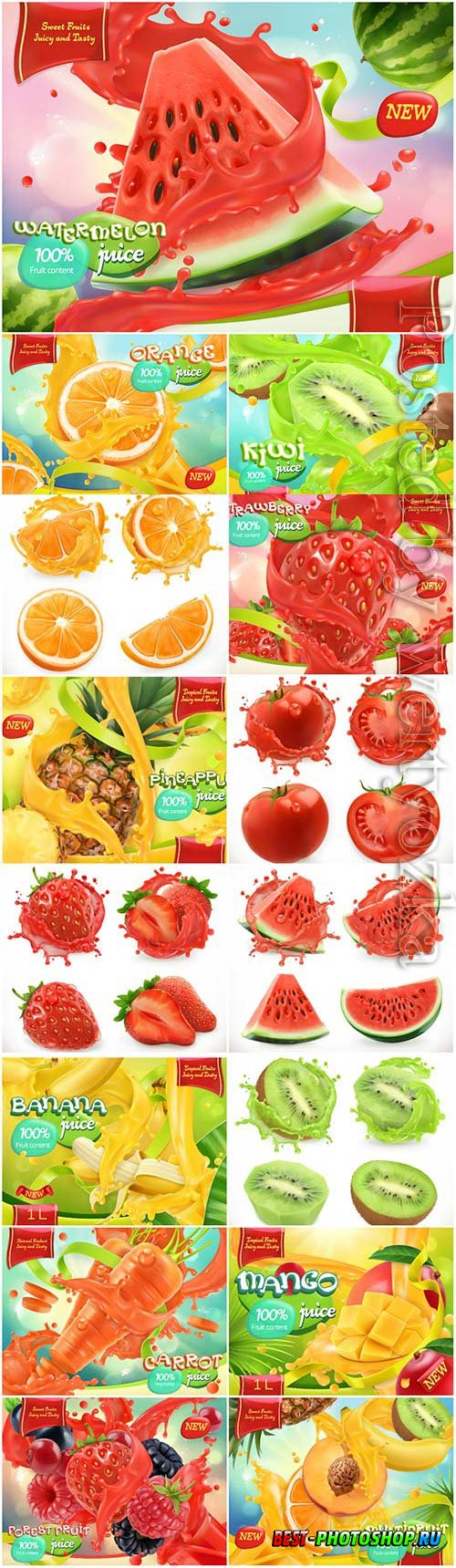 Fresh juices and fruits with berries in vector