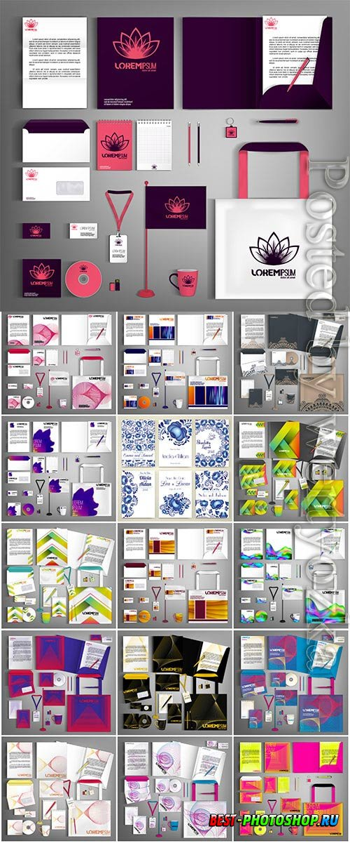 Business set with logos for design in vector