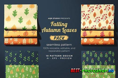 Falling Autumn Leaves - Seamless Pattern