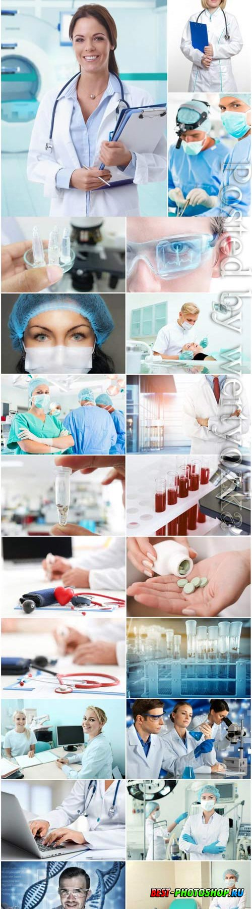 Medical set of doctors in the laboratory stock photo