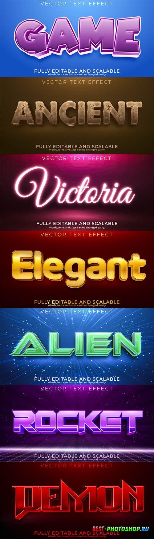 3d editable text style effect vector vol 865