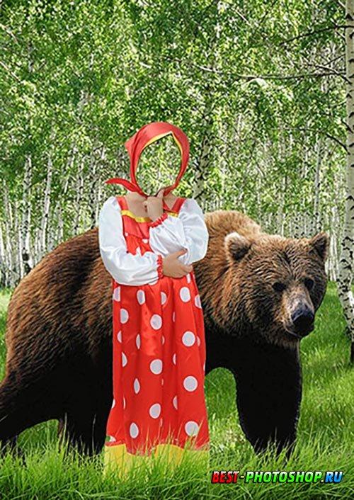 Детский фотошаблон psd - Маша и медведь