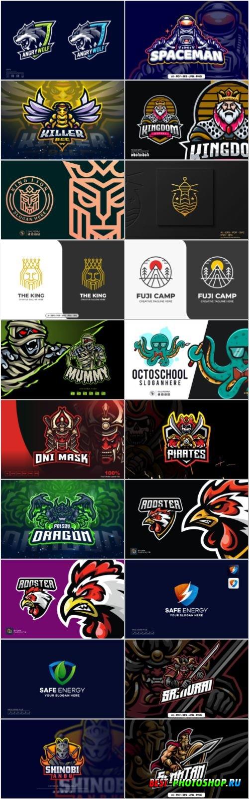 Set mascot logo vector template vol 11