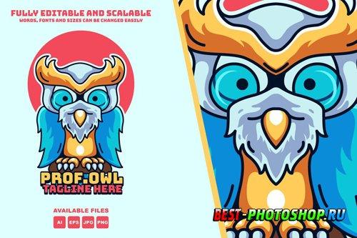 Owl Prof Logo illustration mascots modern style design templates