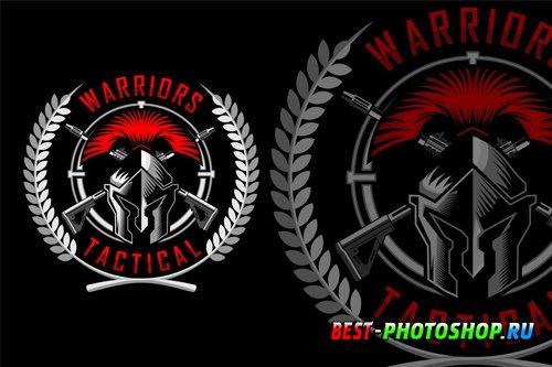 Military Spartan Helmet Logo design templates