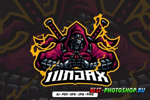 Robot Ninja Mascot logo